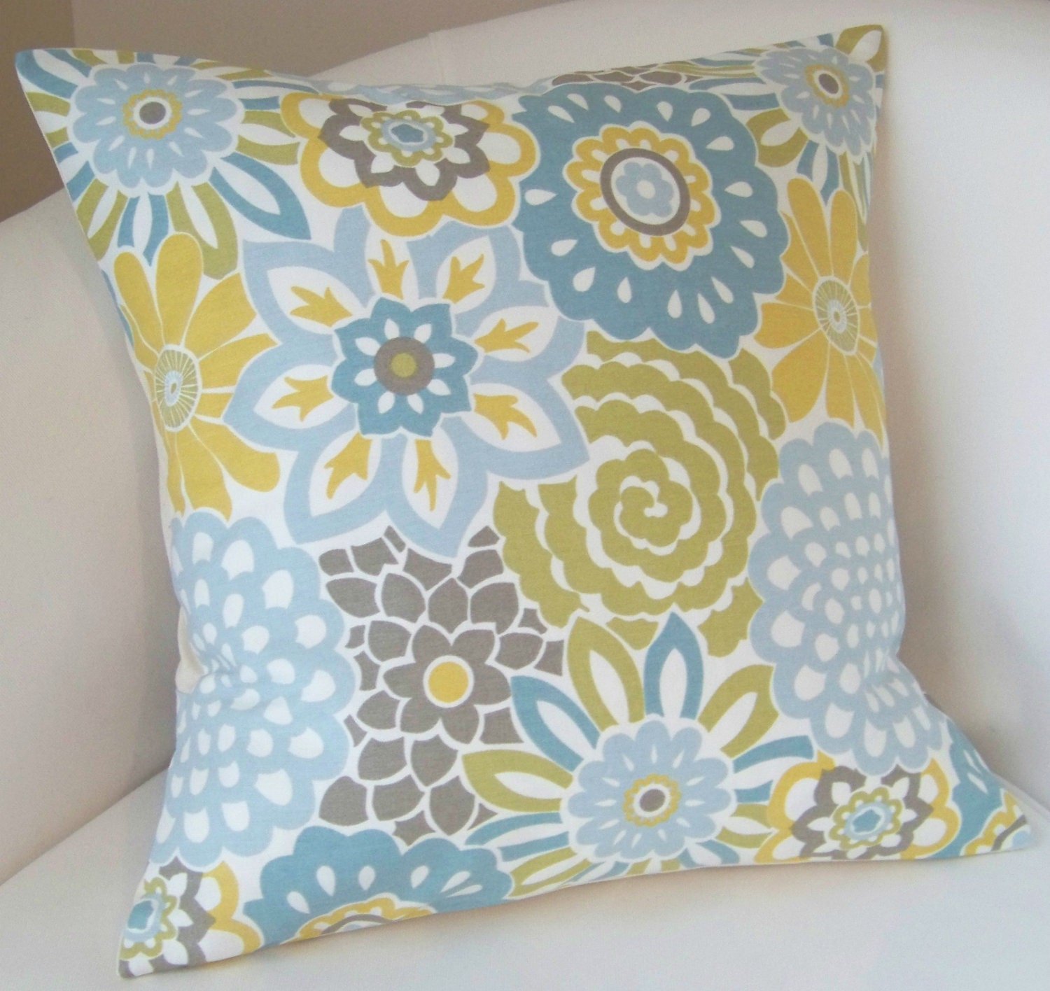 Decorative Pillow Cover Spa Blue Yellow Cushion Throw Accent