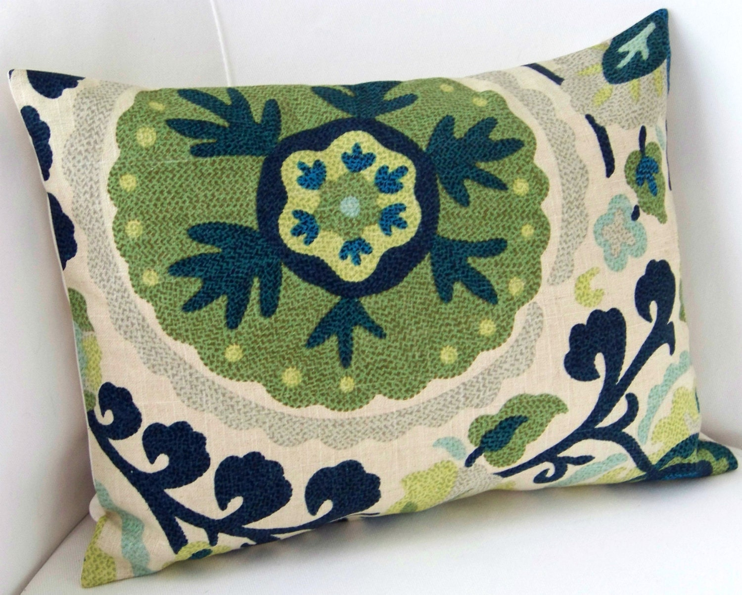 Decorative Lumbar Pillows Green : Suzani Pillow Cover Blue Green Pillow Lumbar Pillow Throw