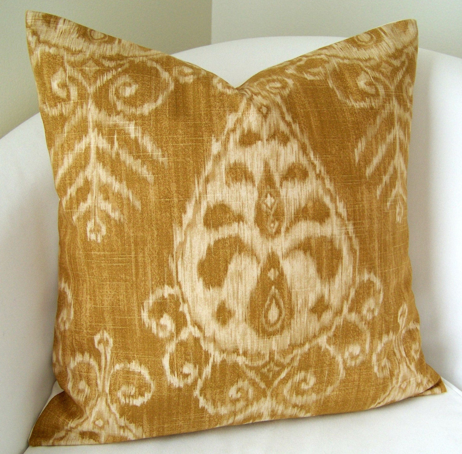 Throw Pillow Covers 20x20 : Decorative Throw Pillow Cover Gold Ikat Pillow 20x20 Inch