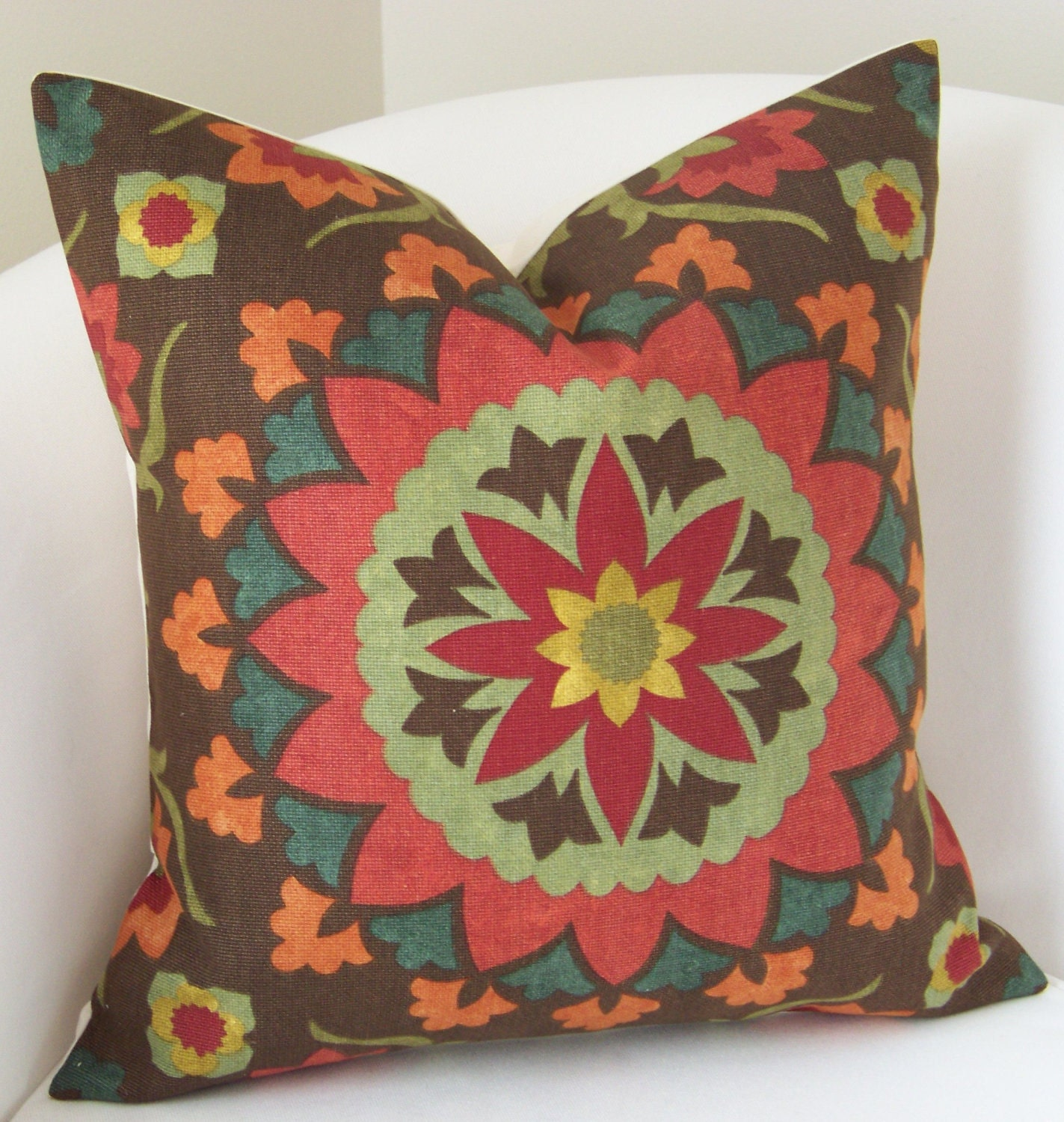 suzani pillow decorative throw pillow cover brown red orange. Black Bedroom Furniture Sets. Home Design Ideas