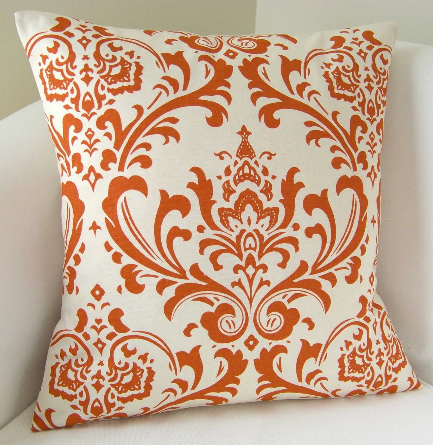 Orange Pillow Cover Damask Decorative Pillow Accent by nestables