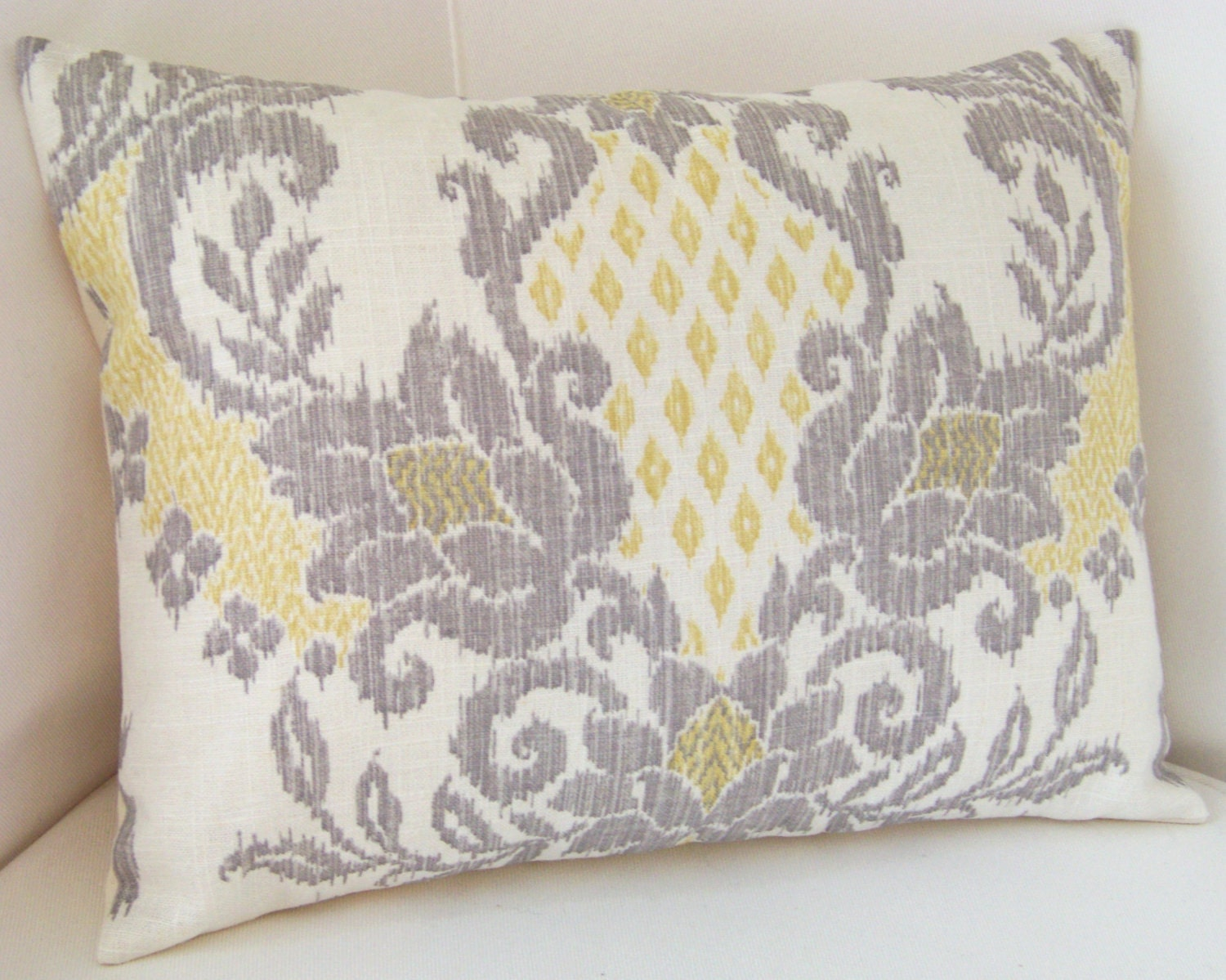 Grey And Yellow Decorative Pillows : Yellow Gray Pillow Cover Ikat Pillow Throw Accent by nestables