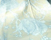 Item 131 Fabric remnant woven cotton light gold and teal decorative tree and floral design