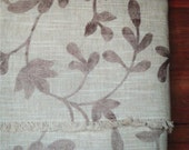 Item 136 Large fabric remnant or piece brown cotton and poly rayon machine embroidery flowers