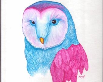 "Owl ..original painting..8"" x 10"""