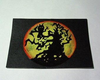 Spooky Night...ACEO acrylic painting....