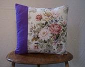 Kitschy purple flower cushion