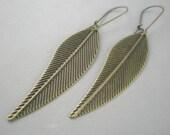 Antiqued Bronze Earrings Leaf Dangle Handmade Jewelry by Stoneberri Light Long Textured Thin