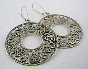 Antique Bronze Openwork Earrings