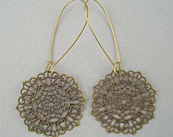 Antique Bronze Filigree Round Jewelry Long Earring Wires Handmade Jewelry by Stoneberri Metal Light Delicate Everyday