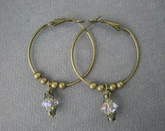 Hoop Earrings in Antique Bronze and Swarovski Crystal