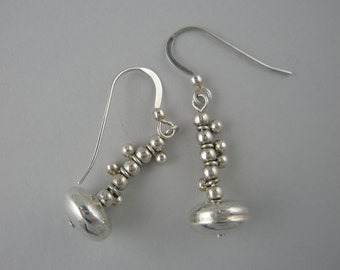 Dangle Earrings Using Sterling Silver Ball Beads on a Large Sterling Silver Disc