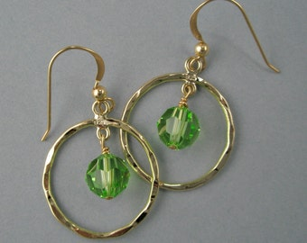 Gold Filled Hoop Earrings with Swarovski Crystal Dangle Hammered Hoops Customizable Green