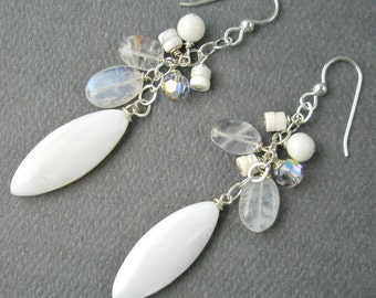 Earrings with a Medley of White Components
