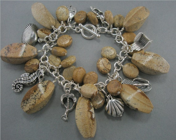 Beach on Your Wrist...Bracelet with Sand Colored Jasper, Eight Sterling Silver Beach/Ocean Charms and Toggle Closure