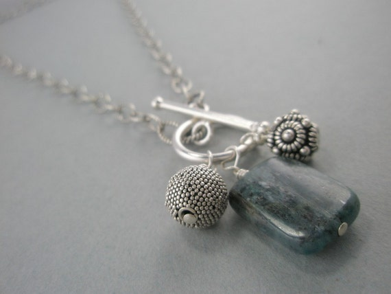 Blue Kyanite Necklace Oxidized Front Closure Toggle Closure Dangle Sterling Silver