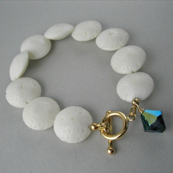 White Coral and Blue Swarovski Crystal Bracelet