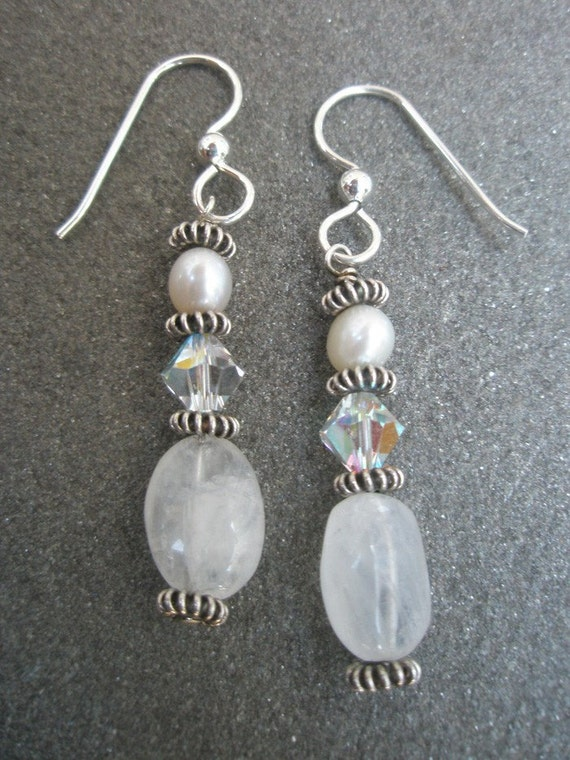 White Moonstone, Crystal and Pearl Earrings