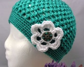 Handmade Teal Cloche with White Flower - 18 inch brim - 9 to 20 months -  Ready to Ship