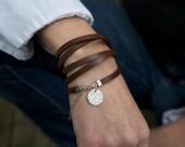 Leather Bracelet Wrap Boho Charm Bracelet Cuff Personalized or Not Silver Charm Bracelet Rugged Jewelry Gift for Woman Wife Girlfriend Mom