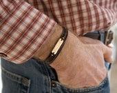 Men's Leather Bracelet Silver Copper Bronze Bracelet for Man Silver Mens Bracelet Stamped bracelet for Man Silver Stamped Father's Bracelet