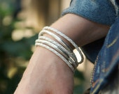 Five Braided Leather and Sterling Silver Bangles