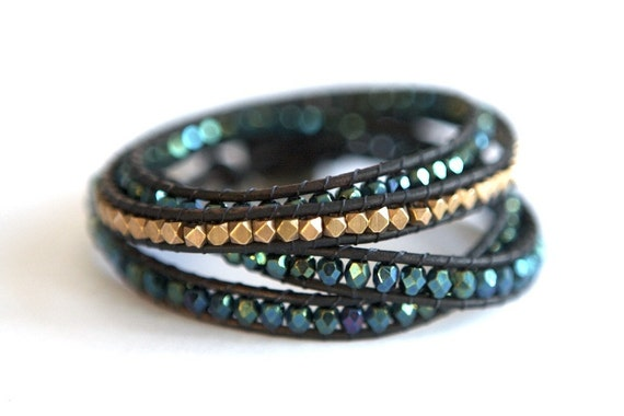Four Wrap Leather Bracelet with Blue Green Gold Beads and Bronze Button
