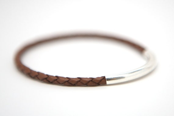 Braided Leather Bangle Bracelet Sterling Silver Leather Wrap Teacher's Gift Coaches Gift Tween Gift Boho Jewelry Minimalist Preppy For Her