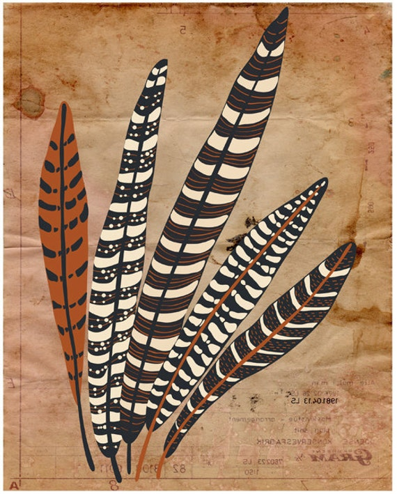 "Tribal Print Wall Decor, Original Illustration, Feather Wall Decor Poster ""Five Fine Feathers"" Native American Tribal Inspired Wall Decor"