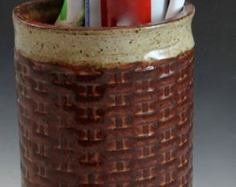 Bridges Pottery Patterned Ceramic Toothbrush Cup