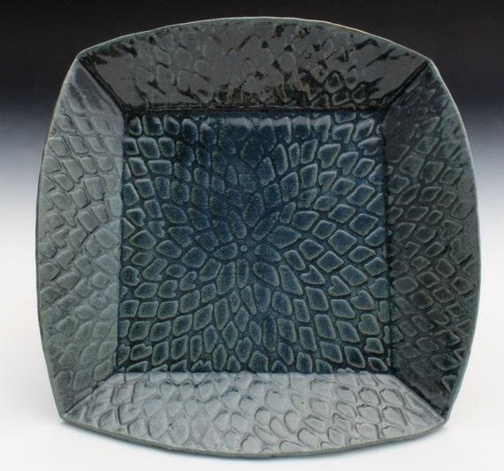 Bridges Pottery Medium Blue  Square Platter