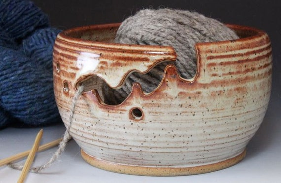 Bridges Pottery Yarn Bowl Knitting Bowl Shiny Creme Showcased by Vogue KNitting IN STOCK