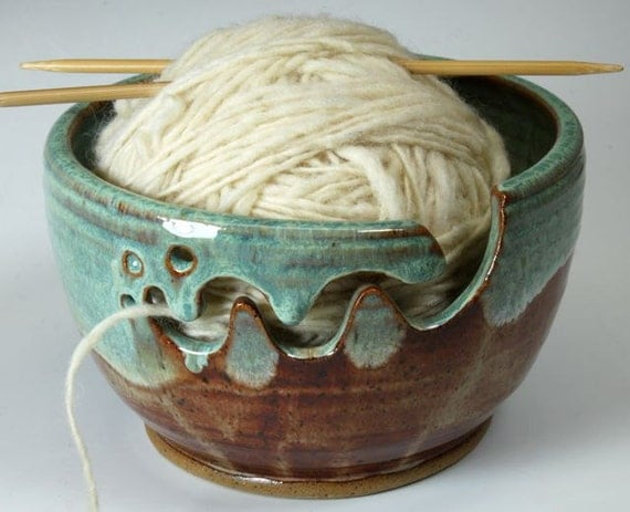 Bridges Pottery Yarn Bowl Knitting Bowl Brown and Green