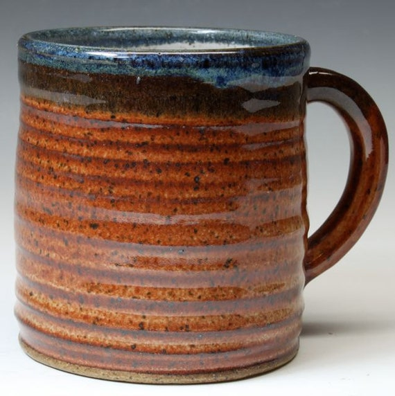 Bridges Pottery- Coffee Mug - Cup -  Brown and Blue - Ready to Ship- In-Stock
