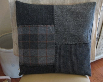 Gray Pieced Wool  Pillow Cover