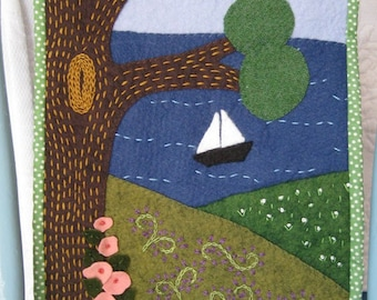 wool  sailboat in the sea wall hanging