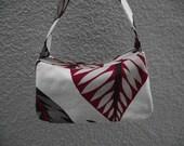 Retro Burgundy Leaf Little Purse - Bark Cloth Reproduction Print - IN STOCK