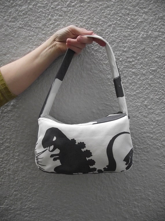 Godzilla Purse - grey and white print canvas - monster - IKEA - comic book IN STOCK