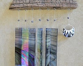 Irresistible Iridescence - Glass and Driftwood Windchime with Mexico dangle