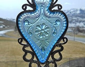 Regal Blue Spade - Vintage dish given new life as a Windchime