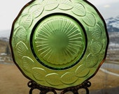 Green Leaves - Vintage Glass Saucer Upcycled into a Windchime