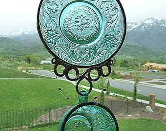 Cup and Saucer Windchime - Upcycled from Retro Tiara Spruce Green set