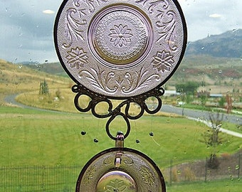 Cup and Saucer Windchime - Upcycled from Retro Tiara Plum set