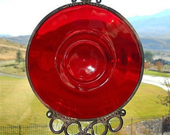 Ruby Red - Antique saucer upcycled into a windchime