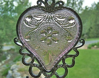 My Passionate Heart  - Depression Glass Style Dish - Upcycled into a Windchime
