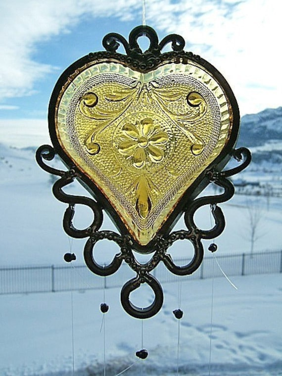 My Smoldering Heart - Depression Glass Heart Dish - Upcycled into a Chime
