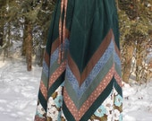 Winter Woodland Teal and Brown Chevron Patchwork Skirt - Ready to Ship - OOAK