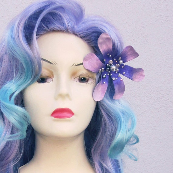 Mermaid Lagoon Purple and Aqua Adult Costume Wig From Under The Sea a True Enchantment Original