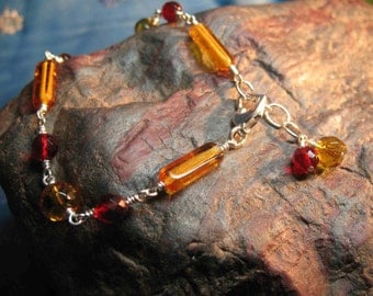 Topaz and Red Glass Bracelet