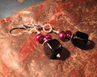 Black Square Onyx and Purple Pearl Earrings